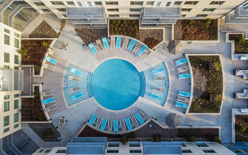 Aerial view of the swimming pool