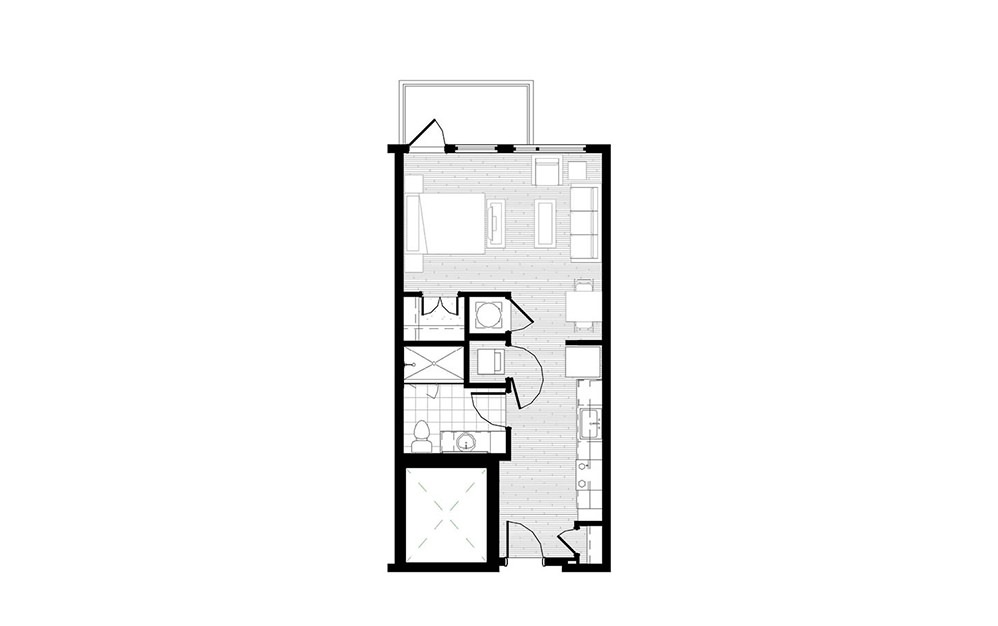 S1 - Studio floorplan layout with 1 bath and 521 square feet.