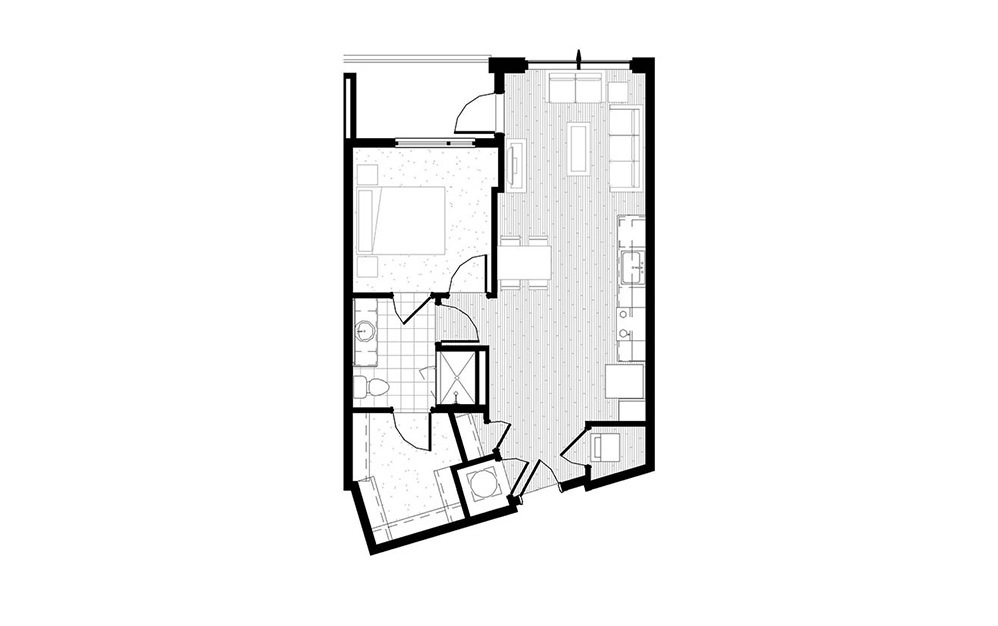 A9 - 1 bedroom floorplan layout with 1 bath and 688 square feet.