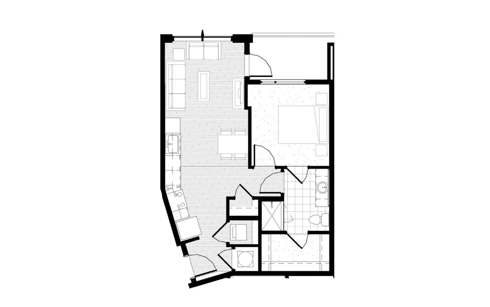 A3 - 1 bedroom floorplan layout with 1 bath and 637 square feet.