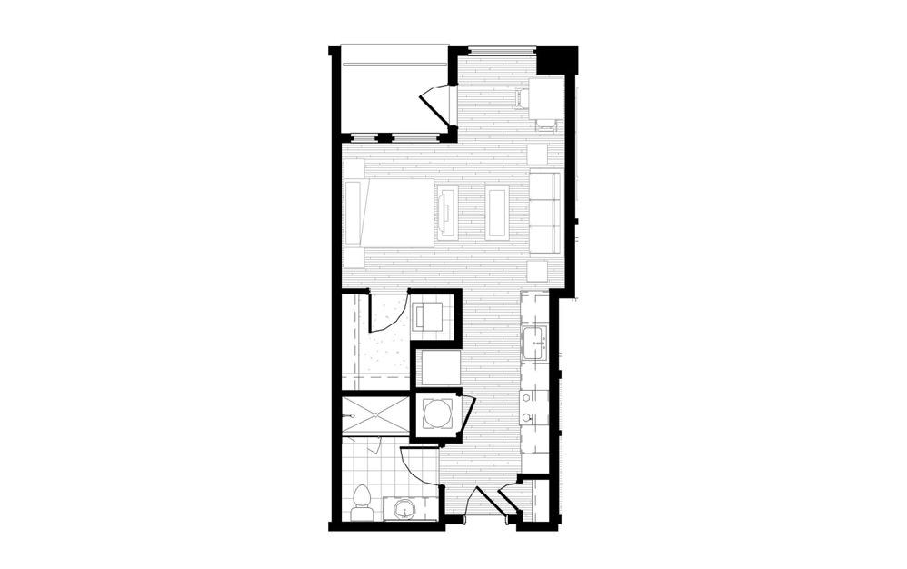 S2 - Studio floorplan layout with 1 bath and 526 square feet.