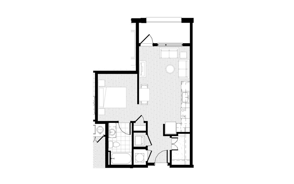 S5 - Studio floorplan layout with 1 bath and 569 square feet.