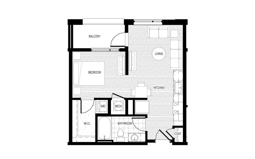 S3 - Studio floorplan layout with 1 bath and 556 square feet.